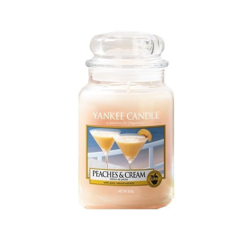 Yankee Candle Peaches & Cream - duża świeca zapachowa - e-candlelove