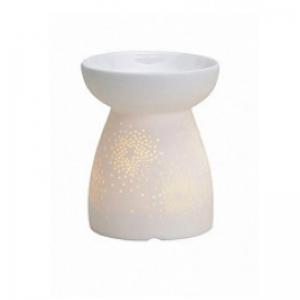 Ażurowe gwiazdki - biały kominek zapachowy - e-candlelove