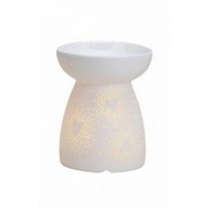 Ażurowe serca - biały kominek zapachowy - e-candlelove