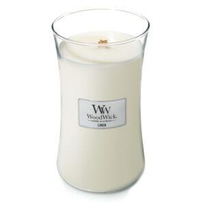 WoodWick Linen - duża świeca zapachowa - candlelove