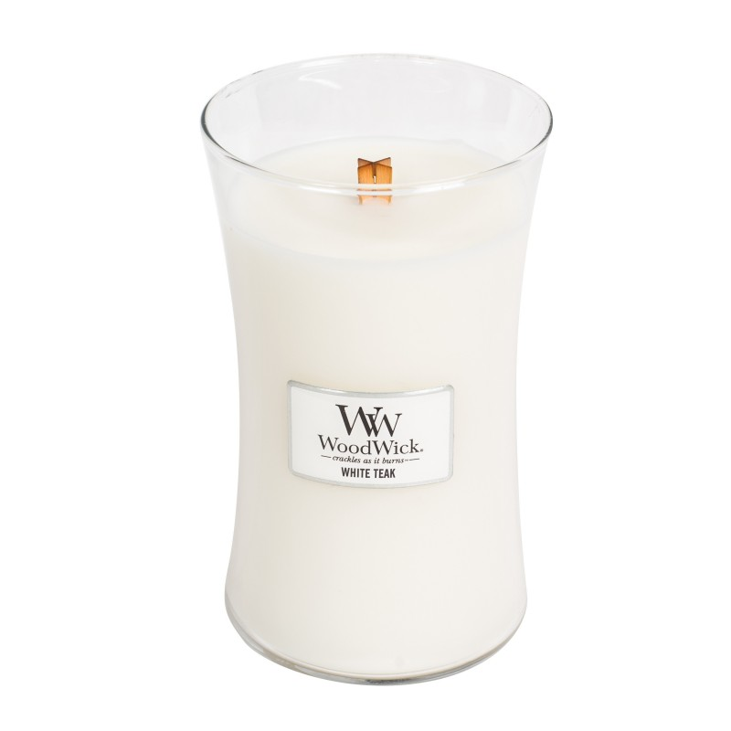 WoodWick White Teak - duża świeca zapachowa - candlelove