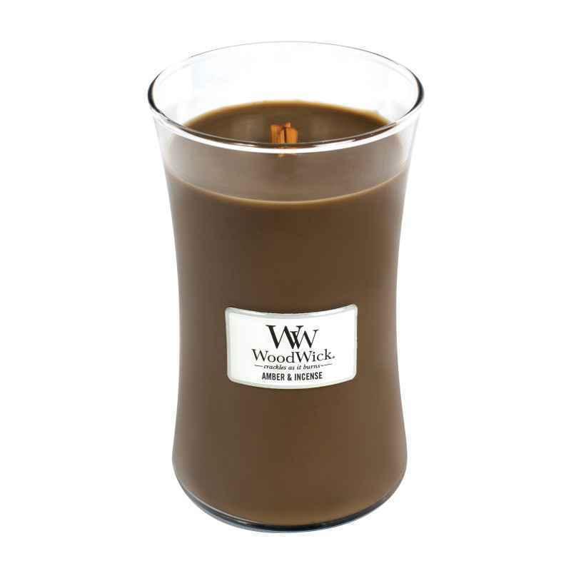 WoodWick Amber & Incense - duża świeca zapachowa - candlelove