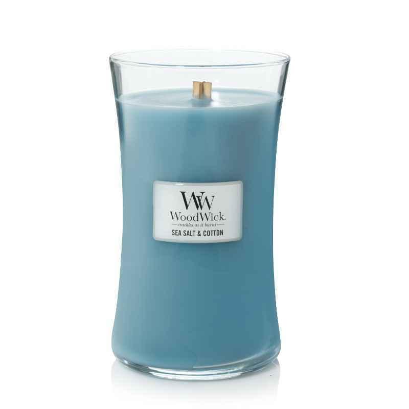 WoodWick Sea Salt & Cotton - duża świeca zapachowa - candlelove