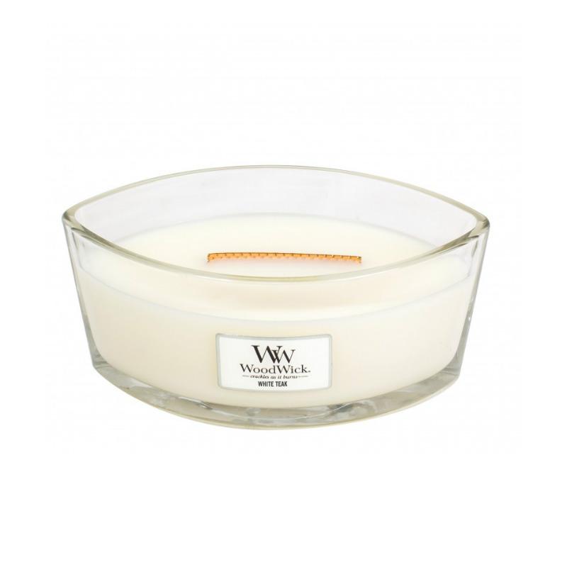 WoodWick White Teak - świeca zapachowa Elipsa - candlelove