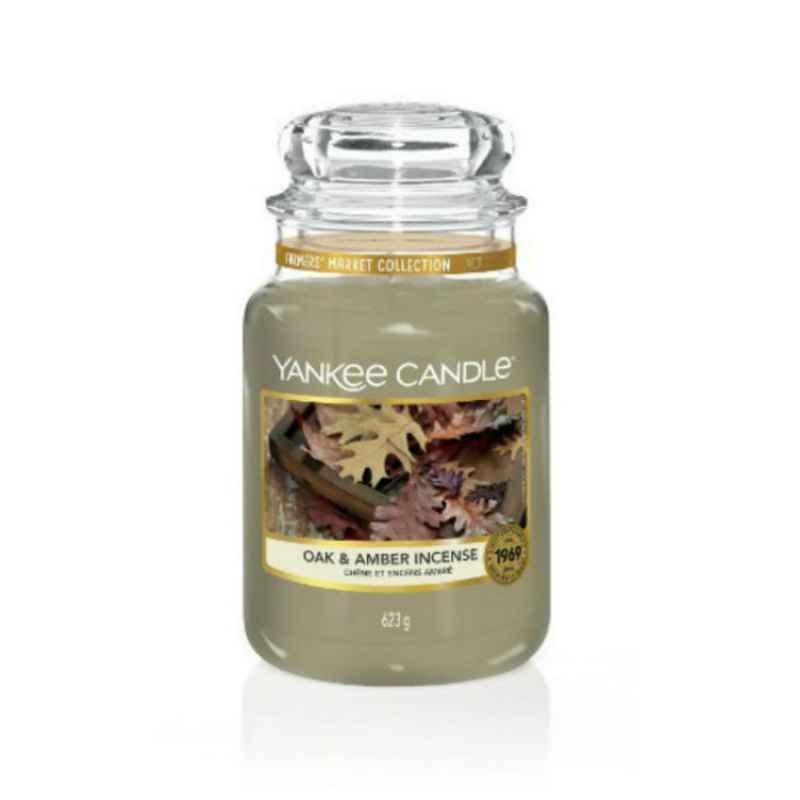 Yankee Candle Oak & Amber Incense - duża świeca zapachowa - e-candlelove
